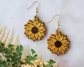 Sunflower Dangle Earrings, Wooden earrings, unique, Sunflower, Gift Idea, fall earrings