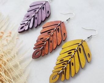 Wooden Leaf Elite 20 Earrings, Lightweight, wooden earrings, painted earrings, Popular Earrings, Lasercut, Gift Idea, unique
