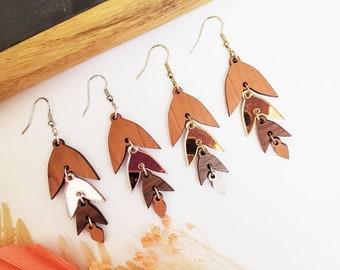 Golden Elite leaf earrings, Wooden earrings, unique, love, Gift Idea