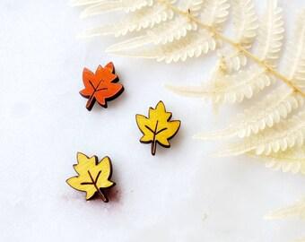 Leaf stud, Stud Earrings,  Lightweight, heart earrings, wooden Earrings, Popular Earrings, Gift Idea, orange, yellow, leaf