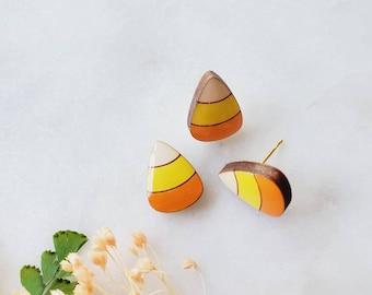 Candy corn stud earrings, Lightweight, wooden Earrings, Popular Earrings, Gift Idea, wood, candy corn, fall earrings, Halloween