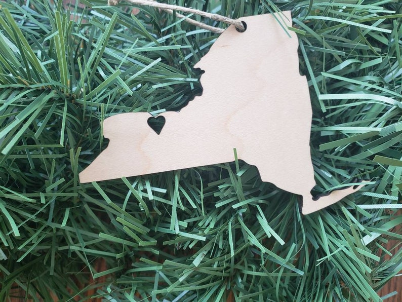 New York State Rochester Heart Ornament maple light wood image 0