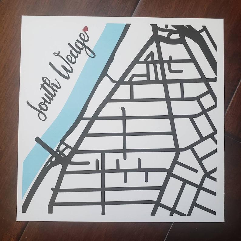 Rochester NY South Wedge Map Street Art City Art Flower image 0
