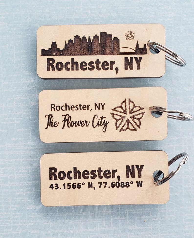 Rochester NY Inspired Keychain wooden ROC small gift image 0