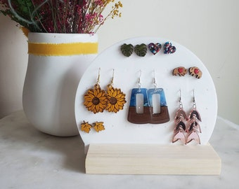 May and birch earring holder, circle earring holder, Acrylic earring holder, wooden base