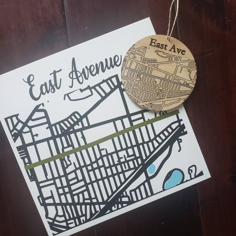 East Ave Ornament Wooden Ornament street art East Ave 8x8 image 0