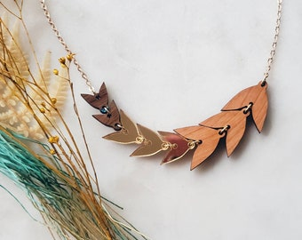 Gold leaf Necklace, statement necklace, wooden necklace, multi colored necklace