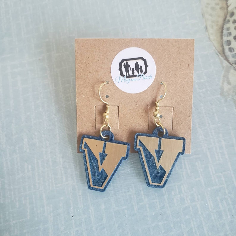 Victor Brushed Gold and Blue Acrylic Dangle Earrings Light image 0