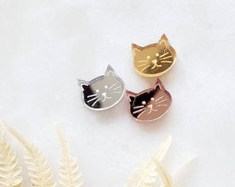 Cat Stud Earrings,  Lightweight, acrylic Earrings, Popular Earrings, Gift Idea, cat, meow, pink, silver, gold