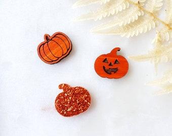 Pumpkin Stud Earrings, jack-o-lantern, glitter, Lightweight, wooden Earrings, Popular Earrings, Gift Idea, orange, fall earrings