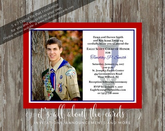 Eagle Scout Court of Honor Invitations-Simple Honors Border photo design-Digital file