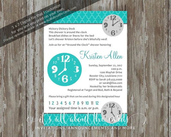 b092b74ae70f Bridal Wedding Shower invitations Digital file Around