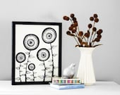 Original Ink Drawing, Black and White Original Illustration, Abstract Circle Flowers Archival Ink Pen Line Illustration, Size 11x14 Inches