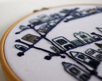 Blue and White Embroidered Geometric Constellation City 8 inch Hoop Art - OOAK
