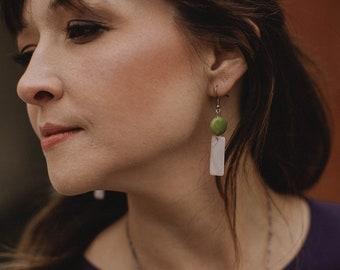 Tagua nut earrings. Lime white earrings. light weight earrings. ivory green earrings. Sela Designs. THE BERTIE EARRINGS. Rectangle earrings