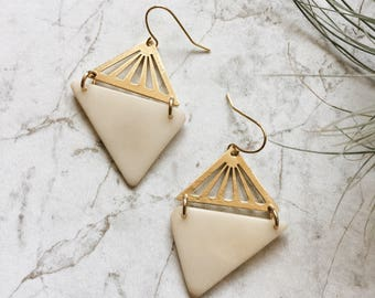 Gold and white earrings. Modern gold geometric earrings. Boho white triangle earrings.  Sela Designs. Minimalist style. Tagua nut jewelry.