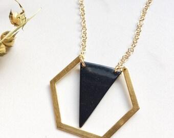 Tagua nut jewelry. Black triangle necklace. Hexagon Pendant. Black Necklace. Gold necklace. Geometric. Sela Designs. Stocking stuffers.