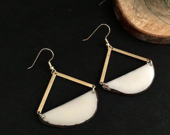 White Earrings. Tagua nut jewelry. Gold and white earrings. Light weight earrings. Sela Designs. Crescent hoop earrings. Geometric hoops
