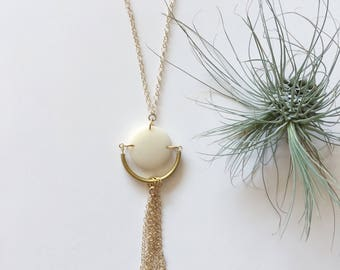 Gold tassel necklace. Long tassel necklace. Chain tassel. Cream necklace. White and gold. Sela Designs. Charity. Fast shipping