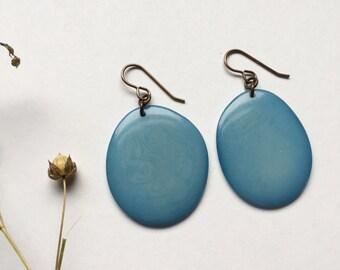 LARGE Light Blue Tagua earrings. Sky blue earrings. Pale blue earrings. Tagua nut jewelry. Sela Designs. Ready to ship. Light weight earring