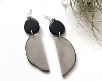 The Mod Earrings. Gray black modern earrings. Geometric crescent circle. Tagua nut jewelry. Light weight Statement earrings Sela Designs