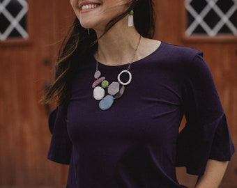 Erin Necklace. Tagua nut necklace. Statement Necklace. Soft colors. Spring colors. Sela Designs. Ivory blue gray purple lime white. light