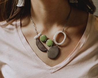 Gray white lime necklace. Tagua nut jewelry. Ivory green gray necklace. Geometric light weight necklace. Sela Designs. Soft colors