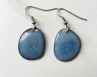 SMALL Denim BLUE tagua earrings. Light blue earrings. Tagua nut jewelry. Eco friendly earrings. Blue earrings. Sela Designs. Ready to ship