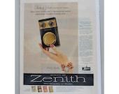 1957 Zenith Transistor Radios Royal 500 Music Bracelet Vintage Magazine Print Ad