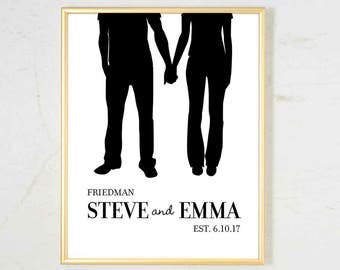 Couples Silhouette Art Print Personalized wedding gifts for couple Bridal Shower Gift Personalized Engagement Gift for couple Gift for bride
