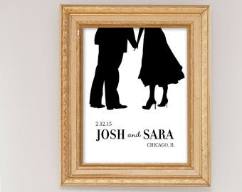 Personalized Wedding Gift, Anniversary Gift, Silhouette Art Print, Personalized Couples Silhouette, Bride and Groom Name Wedding Date Poster