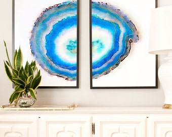 Set of 2 Geode Prints, Large Art prints, Watercolor Agate Slice Prints, Navy Blue Wall Art Agate Print, watercolor art, Abstract Agate geode