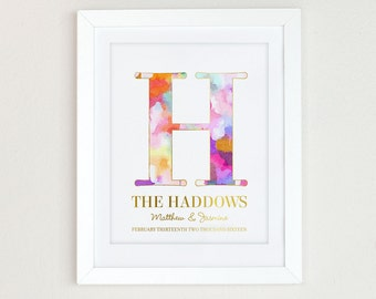 Modern Wedding Gift Art Print, Wedding Gift for Couple, Watercolor Monogram Print, Bridal Shower Gift, Personalize Engagement Gift for Bride