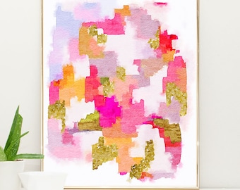 pink watercolor painting, pink abstract art, Pink and Gold Nursery Art, Girls Nursery Wall Art, Watercolor Nursery Art, girls decor