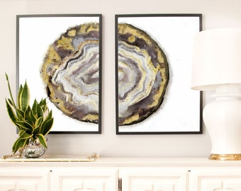 Set of 2 Geode Prints, Large Art prints, Watercolor Agate Slice Prints, Neutral Wall Art Agate Print, watercolor art, Abstract Agate geode