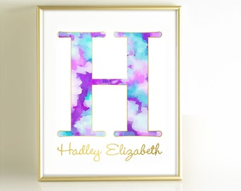 Watercolor Monogram Art Print, Personalized Girls Nursery Decor, Monogram Initial Art, Purple Teal Aqua Gold Nursery Wall Art, Gold Office