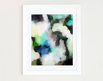 Blue Abstract Watercolor Art Print, Green Boho Nursery, Neutral Nursery Art,  Black and White Abstract Painting, Modern Minimalist Wall Art