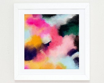 Large Abstract Painting, Boho Wall Art, abstract watercolor pink, black and white wall art, Colorful Modern Art Abstract Print, abstract art