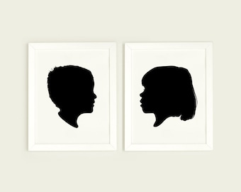 Custom Silhouette Print, custom portrait, Minimalist portrait, Silhouette made from photo, personalized silhouette art, Black and White Wall