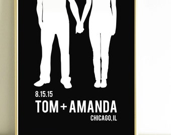 wedding gifts for couple, Gift for him, personalized Wedding Gift, couple silhouette, Custom Portrait, black and white decor