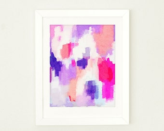 Watercolor Nursery Wall Art for Girls, Abstract Watercolor Art Print, Office Decor, purple girls Nursery Wall Art, Girls Coral Nursery Decor