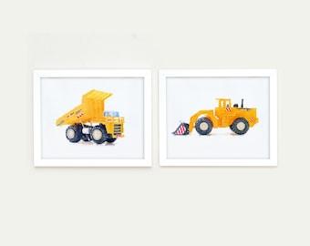Construction truck prints, toddler room décor, truck wall art, construction wall art, prints for Boys Rooms, Nursery Decor, Baby Boy Art