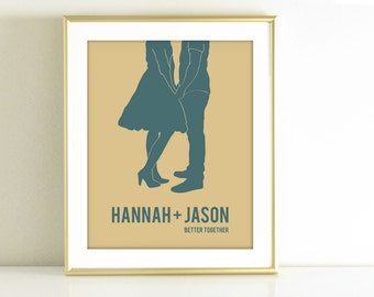 Personalized Wedding Gift, Wedding Shower Gift,  Personalized Gift for her, Custom Silhouette Wall Art, Custom Portrait, Blue home decor