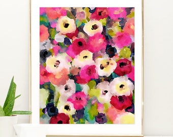 Large Art Print, Watercolor Abstract Pink Flower Painting, watercolor floral print pink blue wall art Large Modern Art Abstract Flower Print