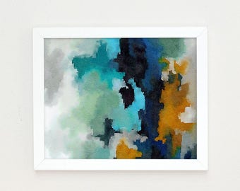 Abstract Print, Abstract Painting, Watercolor Art Nursery Art Print, Teal Wall Art, Blue Abstract Painting, Office decor for women, Ocean