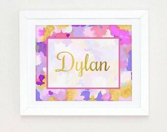 Watercolor nursery art, personalized Girls Nursery Decor, Nursery Decor girls, Wall art girls, Pink Gold Nursery Wall Art, name art nursery