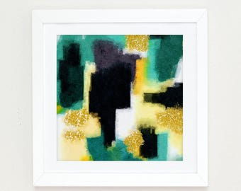 Watercolor Abstract Print, gold Office Decor, abstract painting, black and white print, Modern Art, green wall art, abstract art