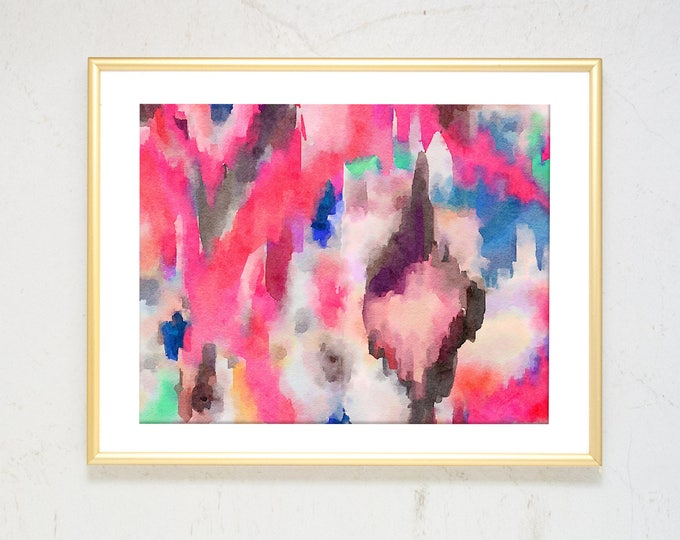Featured listing image: Boho Art Large Watercolor Abstract Painting Girl Nursery Wall Art Bohemian Decor Rug wall art Colorful Modern Art Pink Watercolor Dorm Decor