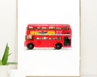 Watercolor Nursery Art Boys room decor, Double Decker Bus Print, Watercolor Painting, Car wall art print, Transportation nursery decor, red