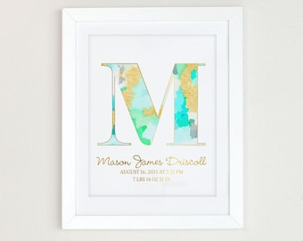 Watercolor Monogram Art Print,  Personalized Girls Nursery Decor, Monogram Initial Art, Aqua and Gold Nursery Art, Mint and gold nursery